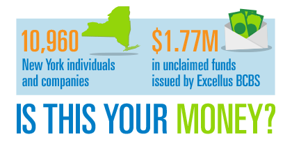 10,400 New York Individuals and companies. $2.1M in unclaimed funds issued by Excellus BCBS. Is this your money?
